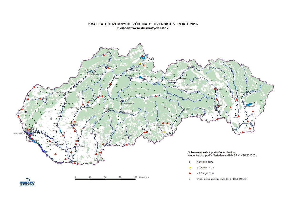 Mapa koncentrcie duskatch ltok v podzemnch vodch na Slovensku Dusinany a mikrobiologick kontamincia s najastejmi zdrojmi zneistenia